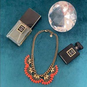 Stella and Dot orange statement piece necklace